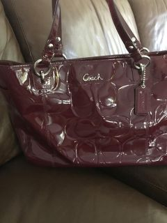 Deep Red Coach Tote and Wristlet Wallet