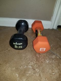 2 different 8 pound weights