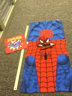 Spider-Man hooded towel and washcloth, $2.00 takes both due to some wear, but plenty of use time left.