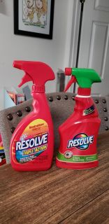 New Resolve Triple Action Carpet Stain Remover & Used Resolve Stain Remover Upholstery Cleaner (about 1/3 left)