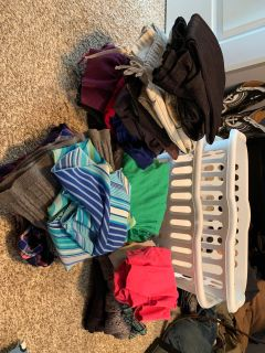 9 pairs of med or ax 7 pants. 3 skirts size med 2 button up plaid shirts 7 T-shirt s 3 sweaters/cardigans. 2 dress shirts. $125 for all