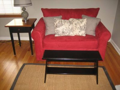 Red Microfiber Loveseat - Converts into Twin Bed - Unique