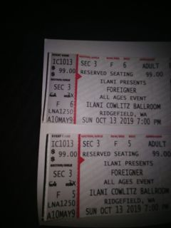 2 foreigner tickets great seats