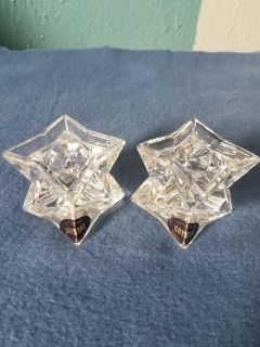 Star shaped crytal candle holders