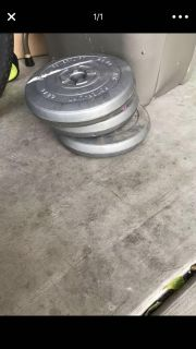 Set of 15 pound weights (4 total- only 3 are pictured)