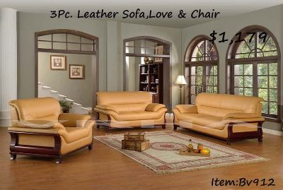 3Pc. Modern Look Leather Sofa Set In Medium Light Tan Color Alexa Collection