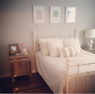 Double bed with box spring and mattress