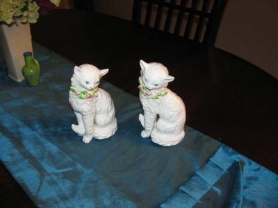Two White Cat Figurines