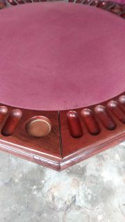Poker table with chips and 4 chairs made from cherry wood can be split for regular table