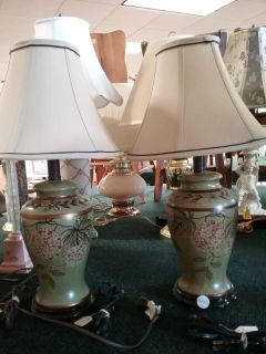 Green floral lamps