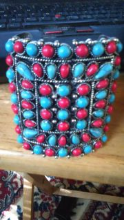 Turquoise and coral stone cuff bracelet