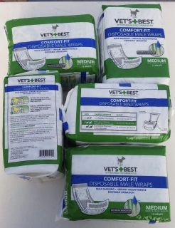 5 new packs of male dog disposable wraps