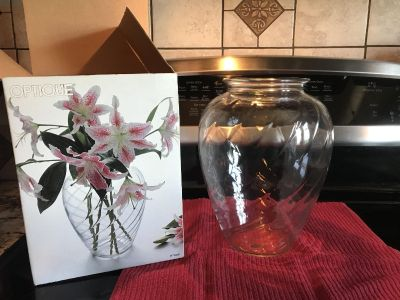 Brand new large 9 1/2 vase in box. Very pretty.