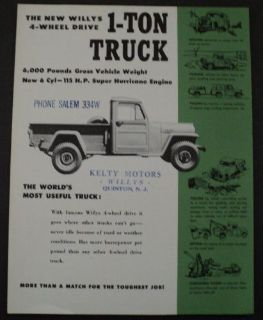 Sell 1955 Willys 4 Wheel Drive 1 Ton Truck Overland Sales Brochure ORIGINAL motorcycle in Holts Summit, Missouri, United States, for US $18.55
