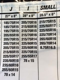 Spare Tire Cover size chart