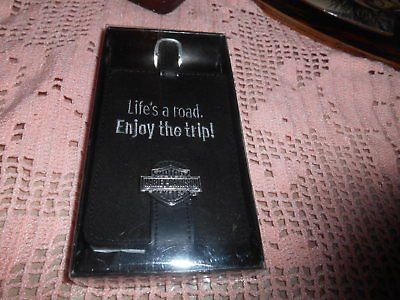 "New Black Leather HARLEY DAVIDSON ""Life's a Road...Enjoy the Trip"" Luggage Tag! MINT"