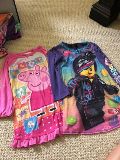 Peppa pig and LEGO movie nightgown