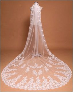 Cathedral Wedding Veil Ivory Lace Edge With Comb 9.84'