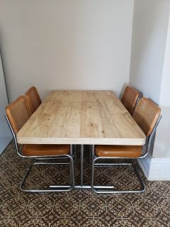 Butcher block table with 4 chairs