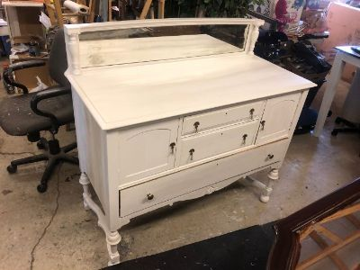 Antique White Very Old Buffet w/ Mirror