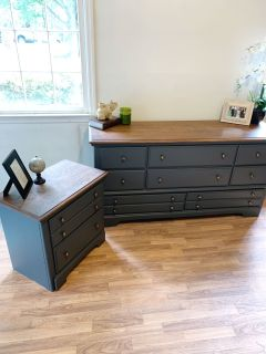2 toned dresser and nightstand set