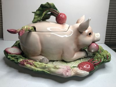 Fitz and Floyd French Market Pig Soup Tureen with Ladle and Platter