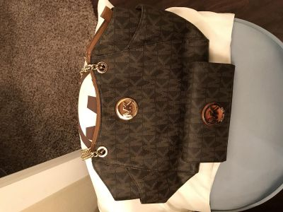 Michael Kors Purse and Wallet in Brown and Tan with Chain Handles.
