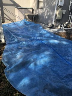 Blue pool solar cover