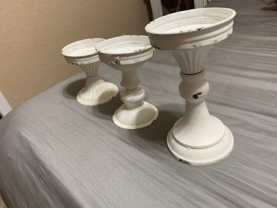 Distressed farmhouse candle holders