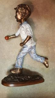 """ANDREA WILKERSON 1997 """"THE RED BALL"""" PAINTED BRONZE SCULPTURE~S/N, 1/20"""