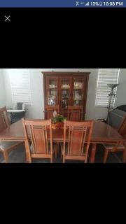 Dining set includes china cabinet