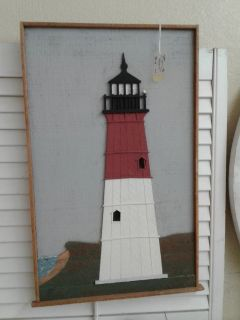 Wooden Lighthouse Puzzle Cut Wall Art #983-28