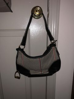 EEUC Black leather and Houndstooth small handbag by Chaps Ralph Lauren