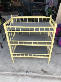 Yellow chalk painted vintage changing table