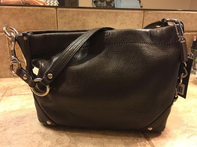 Like NEW! COACH Carley Dark Brown Pebbled Leather Purse