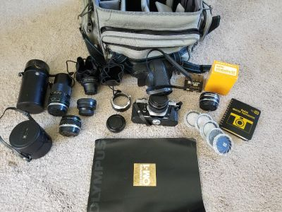 Olympus OM-1 camera and accessories