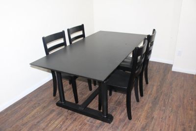 Black Table (Solid Wood) 4 Chairs Included