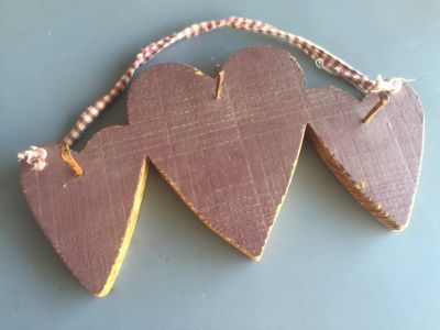 Heart wall hanger with 3 old nails to hang things on