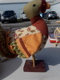 Handmade Quilted Country Turkey on Wood Base