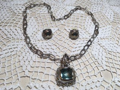 Vintage Jewelry Set Aqua Square Stone in Silver Pendant on Chain Matching Earrings Chunky Style ...