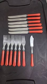13 pc Red Bakelite flat ware