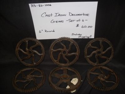 Set of 6 Decorative Cast Iron Gears FREE SHIPPING!!
