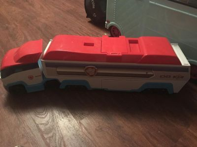 Paw patrol vehicle carrier. Excellent condition with sounds