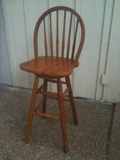 One Solid Wood Swivel Bar Stool - REDUCED