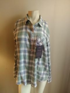 Light green and white plaid shirt womens large