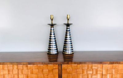 Pair of vintage striped glass table lamps