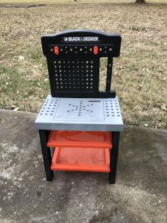 All plastic Black and Decker toy tool bench