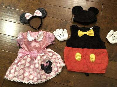 Mickey and Minnie Mouse Halloween Costumes size 6-12 months