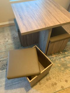 Table with storage chairs