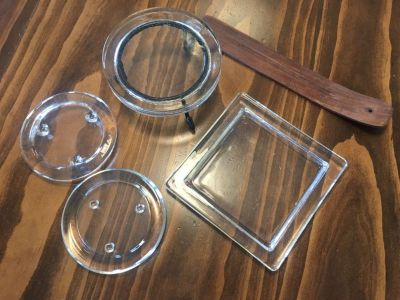 4 glass candles holders and a incense burner